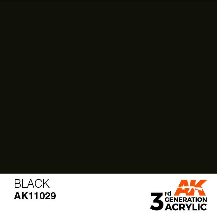 AK-Interactive Black Acrylic Modelling Color - 17ml - AK-11029