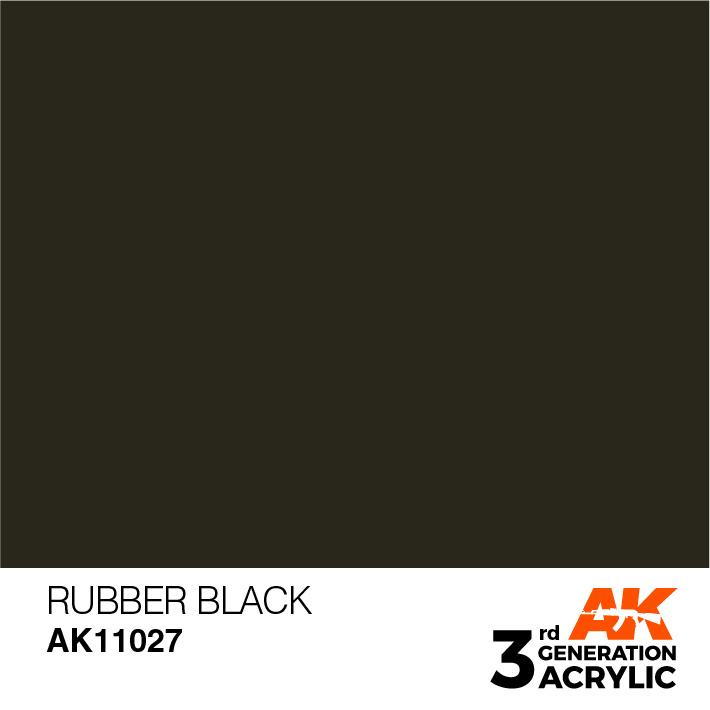 AK-Interactive Rubber Black Acrylic Modelling Color - 17ml - AK-11027