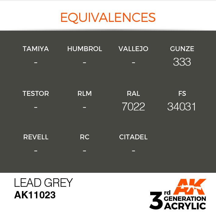 AK-Interactive Lead Grey Acrylic Modelling Color - 17ml - AK-11023