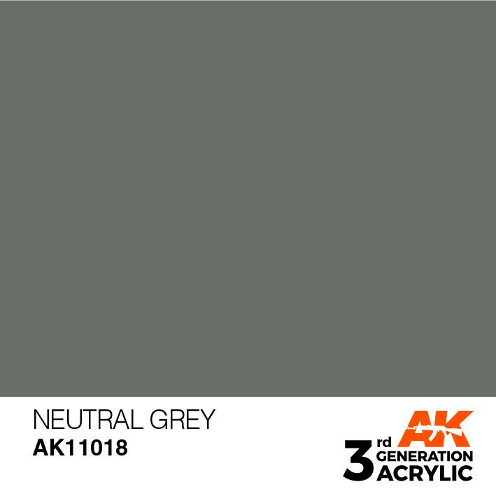 AK-Interactive Neutral Grey Acrylic Modelling Color - 17ml - AK-11018