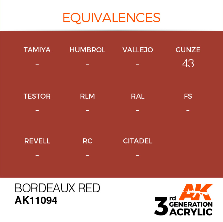 AK-Interactive Bordeaux Red Acrylic Modelling Color - 17ml - AK-11094