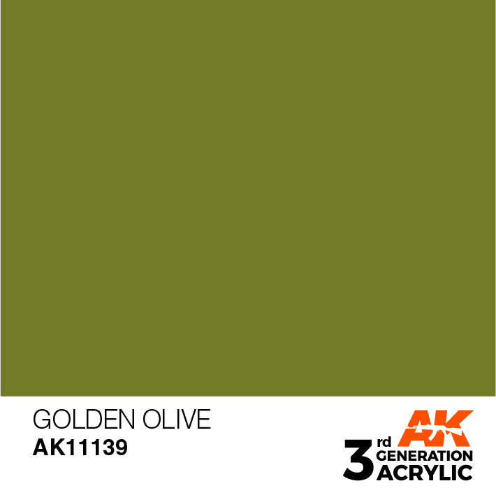 AK-Interactive Golden Olive Acrylic Modelling Color - 17ml - AK-11139