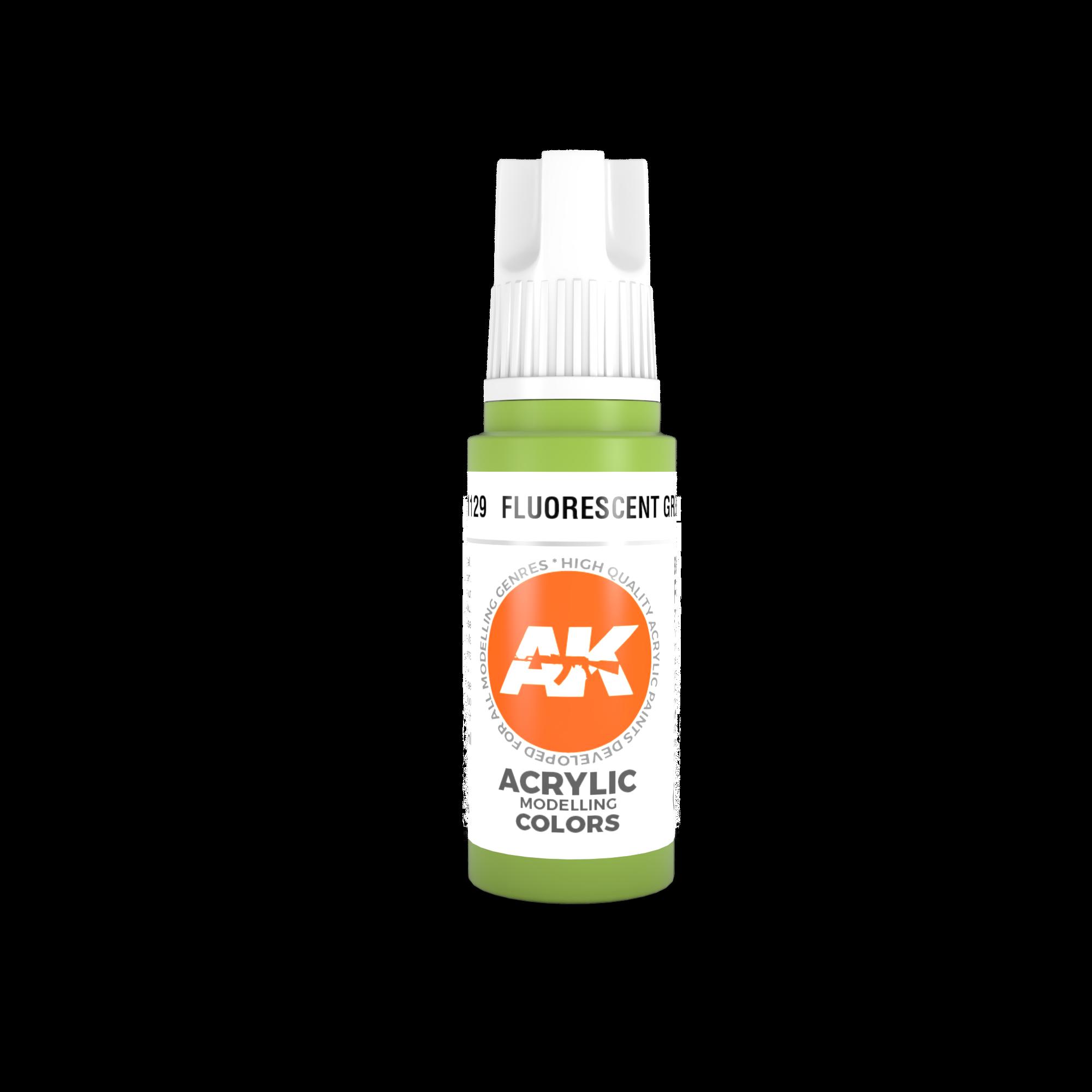 AK-Interactive Fluorescent Green Acrylic Modelling Color - 17ml - AK-11129