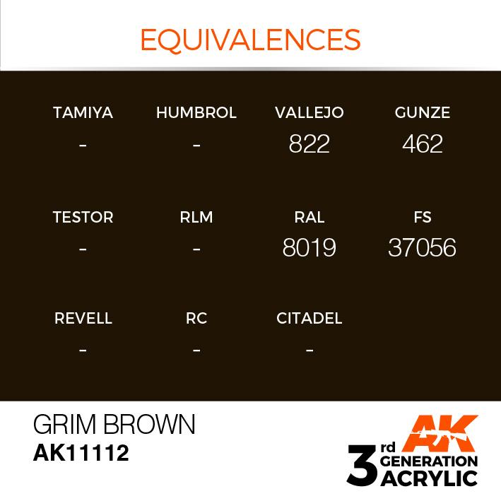 AK-Interactive Grim Brown Acrylic Modelling Color - 17ml - AK-11112