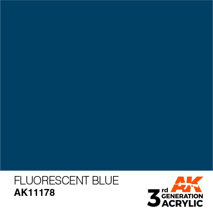 AK-Interactive Fluorescent Blue Acrylic Modelling Color - 17ml - AK-11178