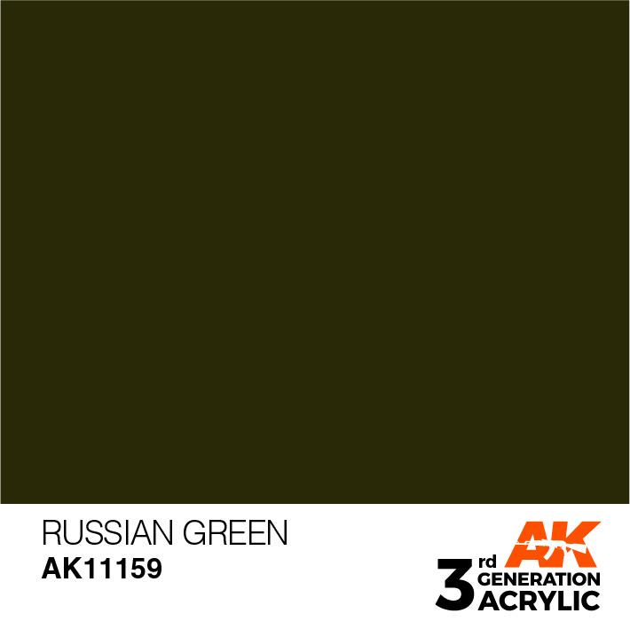 AK-Interactive Russian Green Acrylic Modelling Color - 17ml - AK-11159