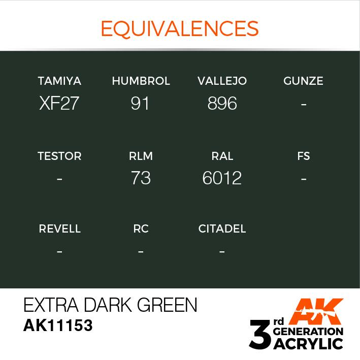 AK-Interactive Extra Dark Green Acrylic Modelling Color - 17ml - AK-11153