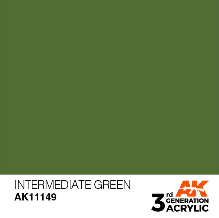 AK-Interactive Intermediate Green Acrylic Modelling Color - 17ml - AK-11149