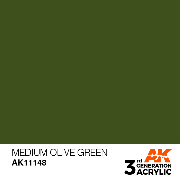 AK-Interactive Medium Olive Green Acrylic Modelling Color - 17ml - AK-11148