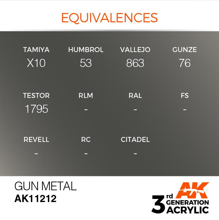 AK-Interactive Gun Metal Acrylic Modelling Color - 17ml - AK-11212