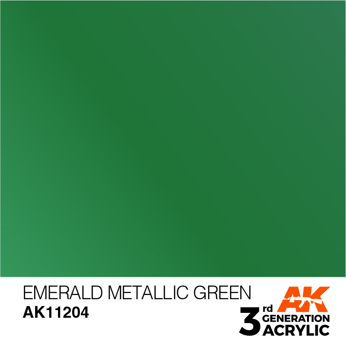 AK-Interactive Emerald Metallic Green Acrylic Modelling Color - 17ml - AK-11204