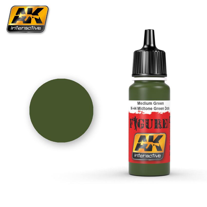 AK-Interactive Medium Green / M-44 Midtone Green Dots - 17ml - AK-3025