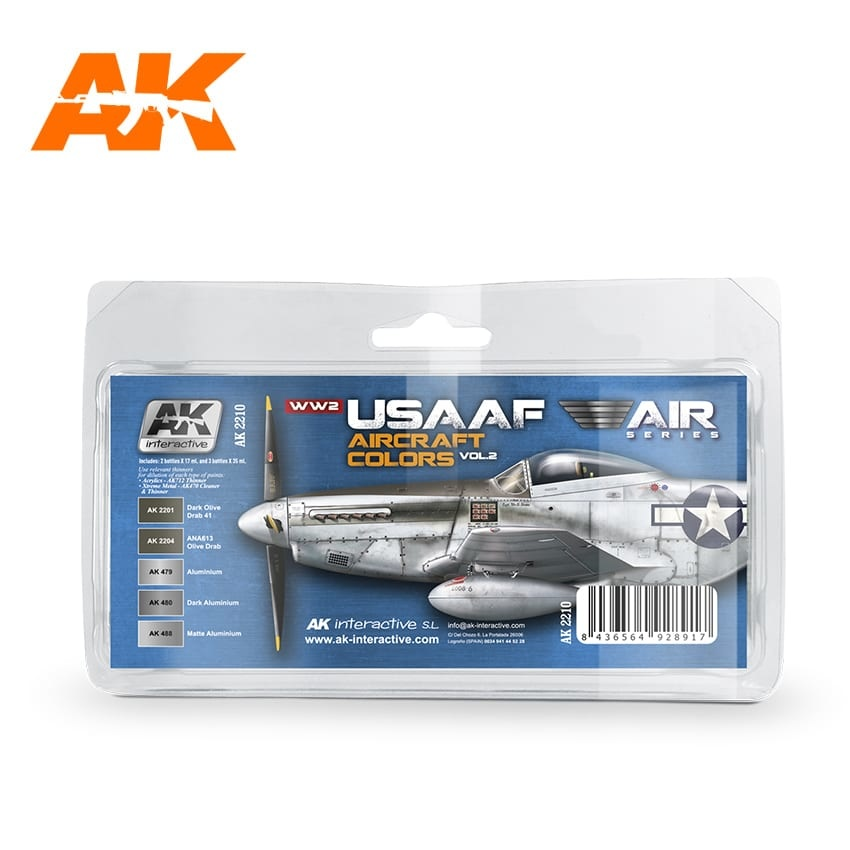 AK-Interactive WWII Usaaf Aircraft Colors Vol 2 Set - AK-2210
