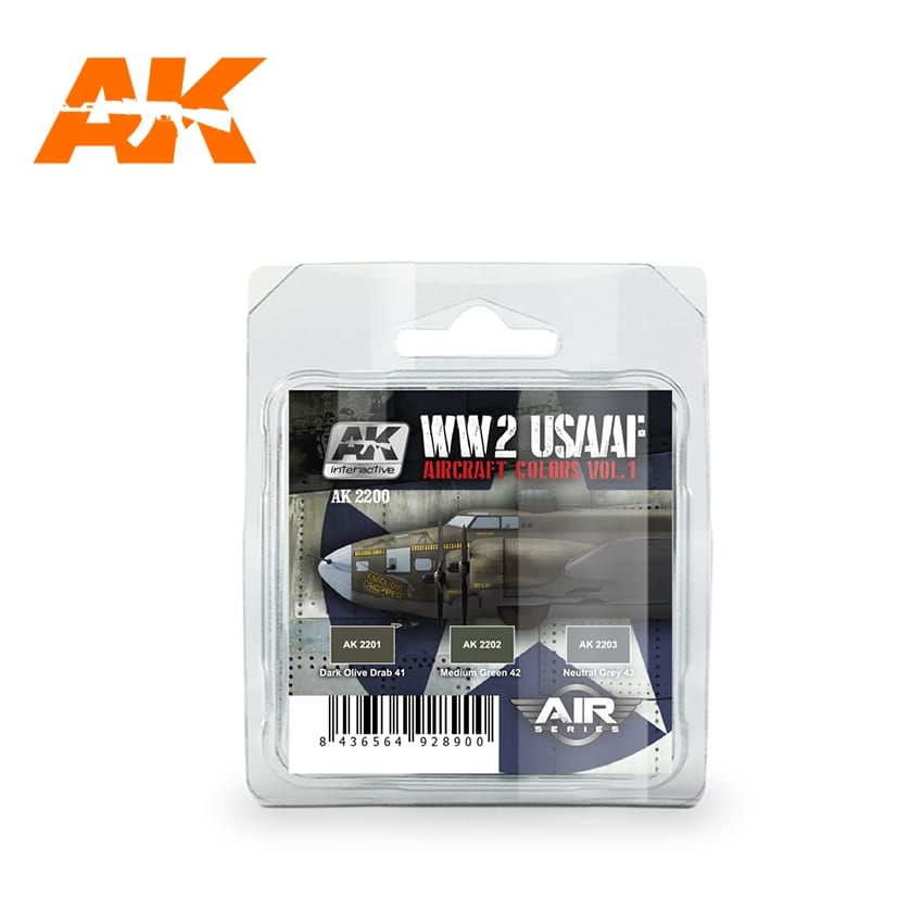 AK-Interactive WWII Usaaf Aircraft Colors Vol 1 Set - AK-2200