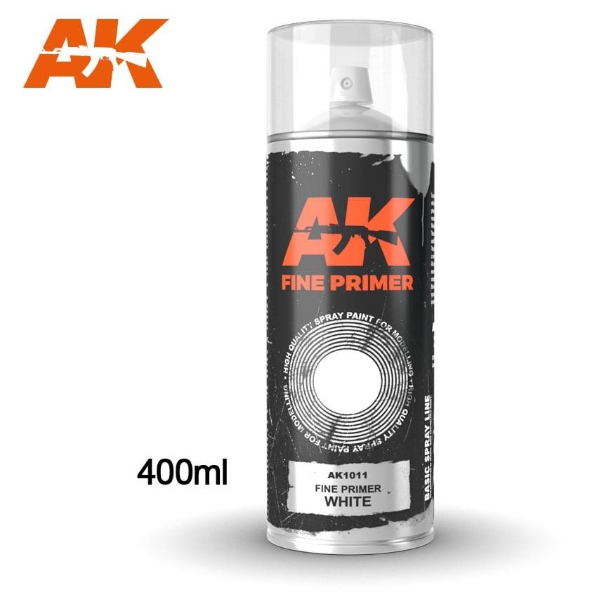AK-Interactive Fine Primer White - Spray 400ml (Includes 2 nozzles) - AK-1011