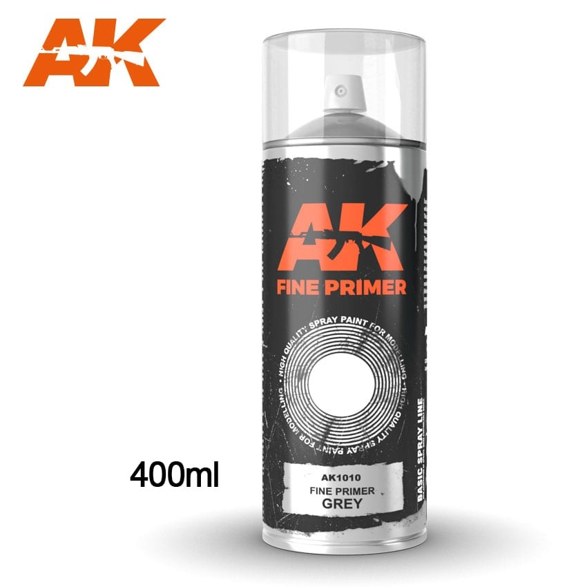 AK-Interactive Fine Primer Grey - Spray 400ml (Includes 2 nozzles) - AK-1010