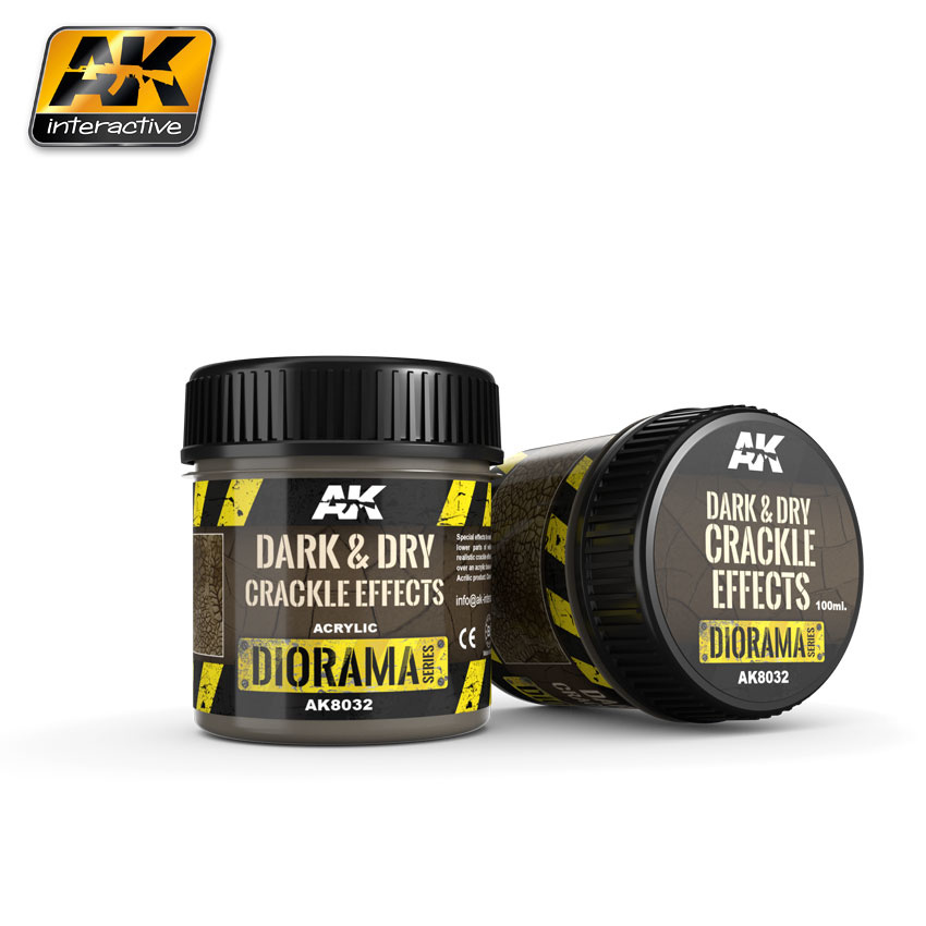 AK-Interactive Dark & Dry Crackle Effects - 100ml (Acrylic) - AK-8032
