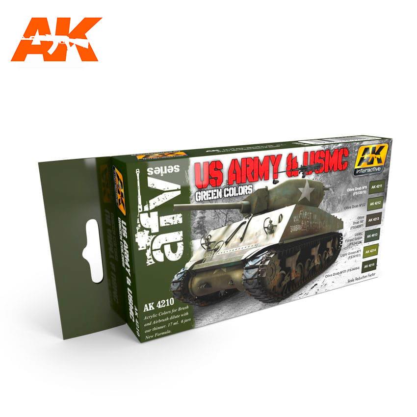 AK-Interactive Us Army & Usmc Green Colors Set - AK-4210