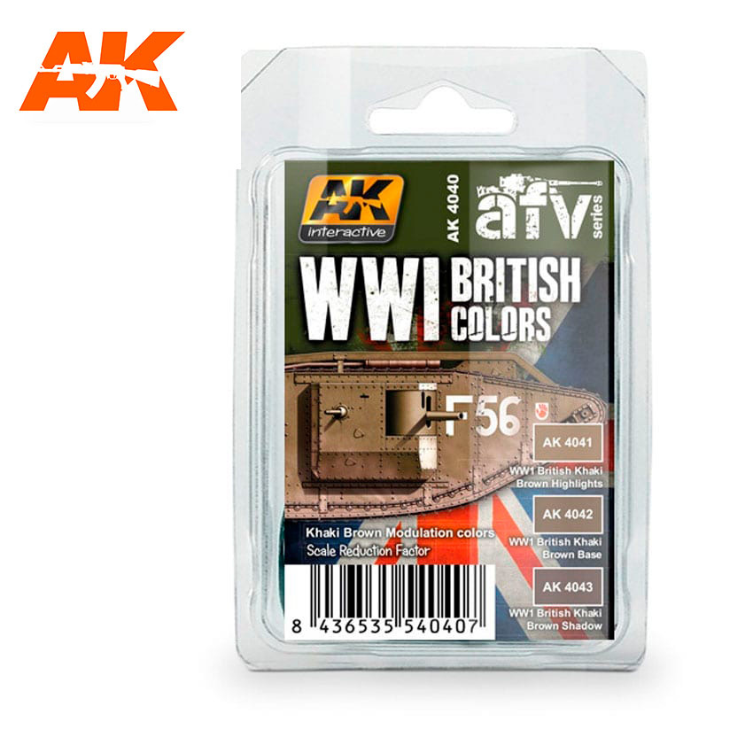 AK-Interactive WWI British Colors (Khaki Brown Modulation Set) - AK-4040