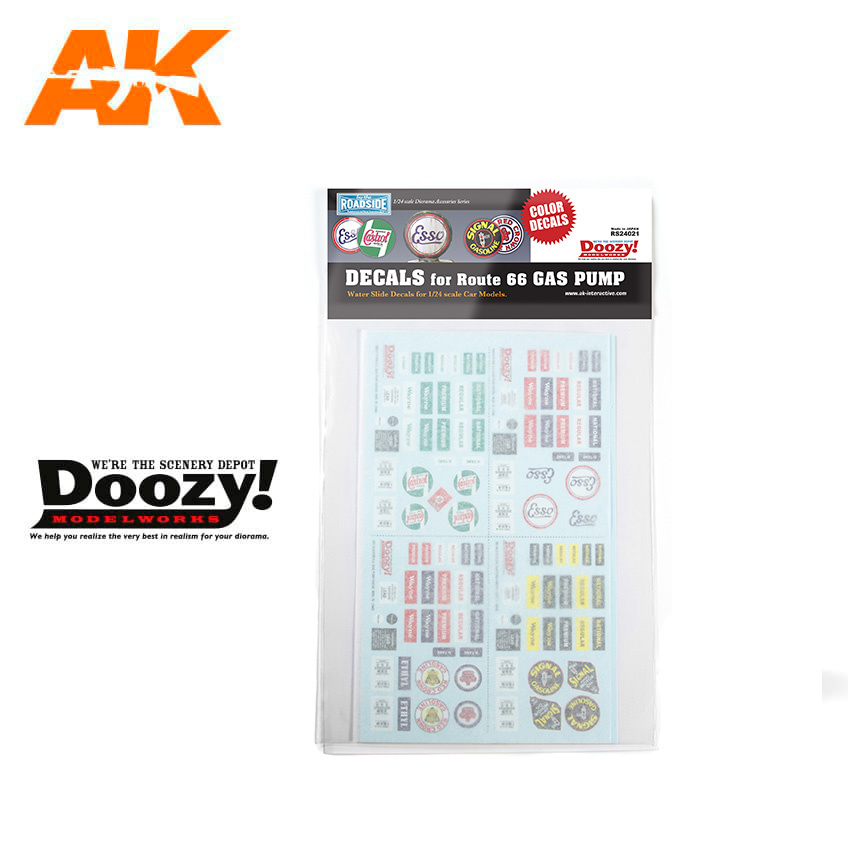 Doozy Decals For Route 66 Gas Pump - Scale 1/24 - RS24021