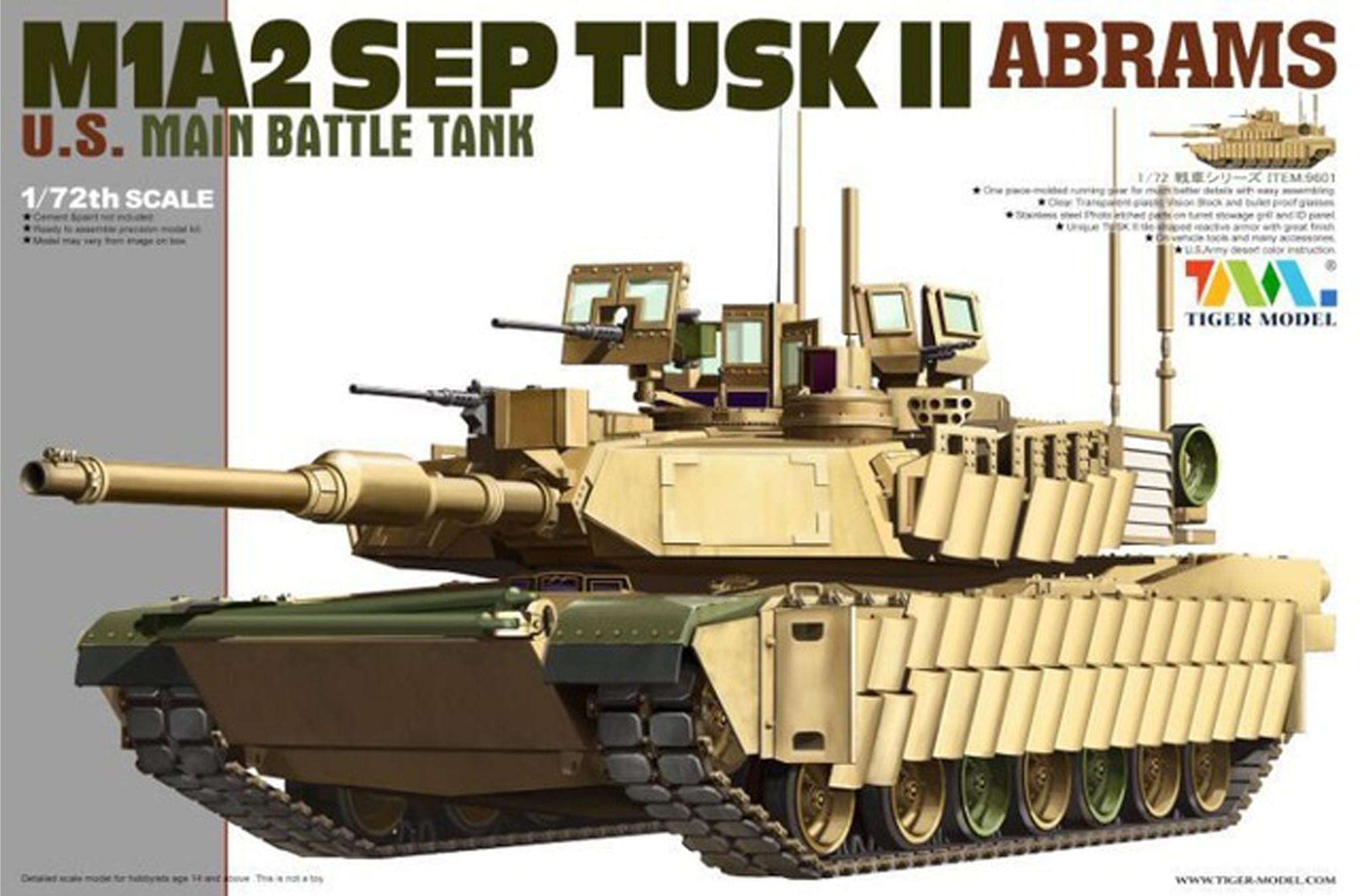 Tiger Model M1A2 Tusk II Abrams - Tiger Model - Scale 1/72 - TIGE9601