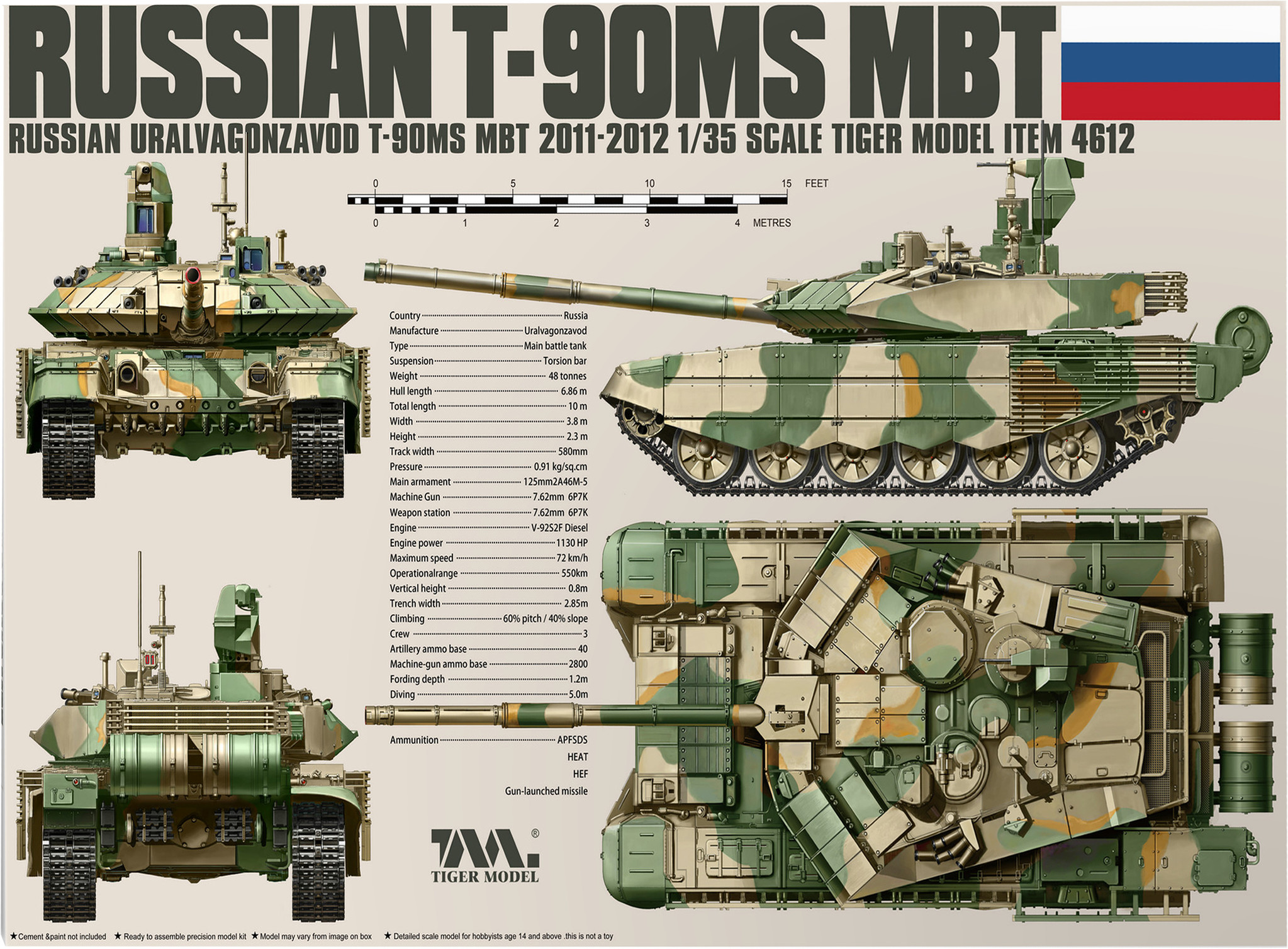 Tiger Model T-90Ms Mbt - Tiger Model - Scale 1/35 - TIGE4612