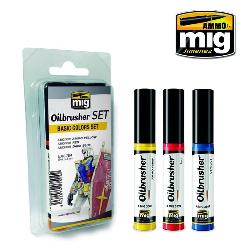 Ammo by Mig Jimenez Oilbrushers Basic Colors Set - A.MIG-7504
