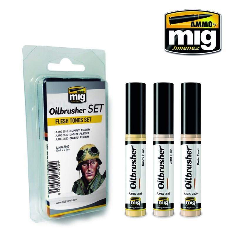 Ammo by Mig Jimenez Oilbrushers Flesh Tones Set - A.MIG-7500