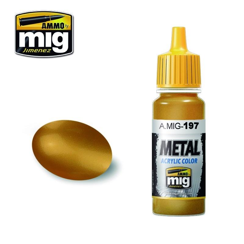 Ammo by Mig Jimenez Metal Acrylics - Brass - 17ml - A.MIG-0197