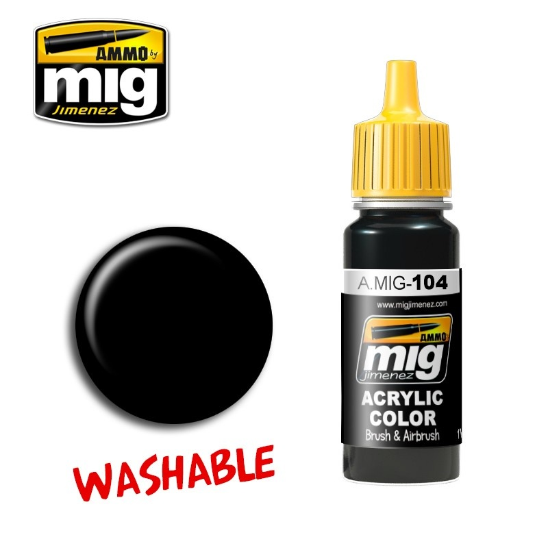 Ammo by Mig Jimenez Washable Black - 17ml - A.MIG-0104