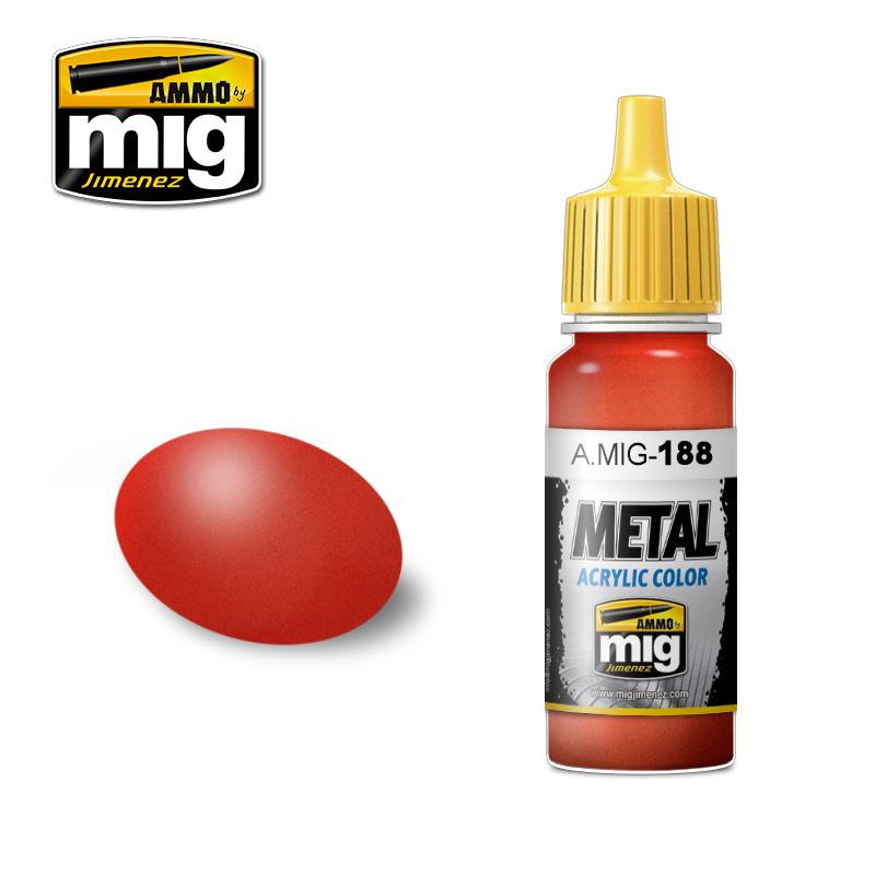 Ammo by Mig Jimenez Metal Acrylics - Metallic Red - 17ml - A.MIG-0188