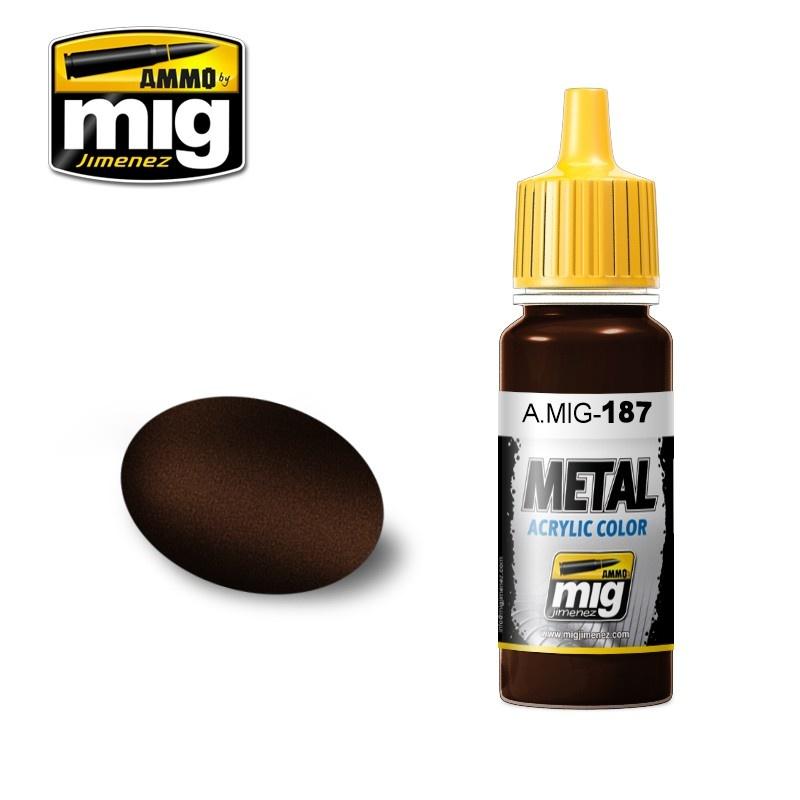 Ammo by Mig Jimenez Metal Acrylics - Jet Exhaust Burnt Iron - 17ml - A.MIG-0187