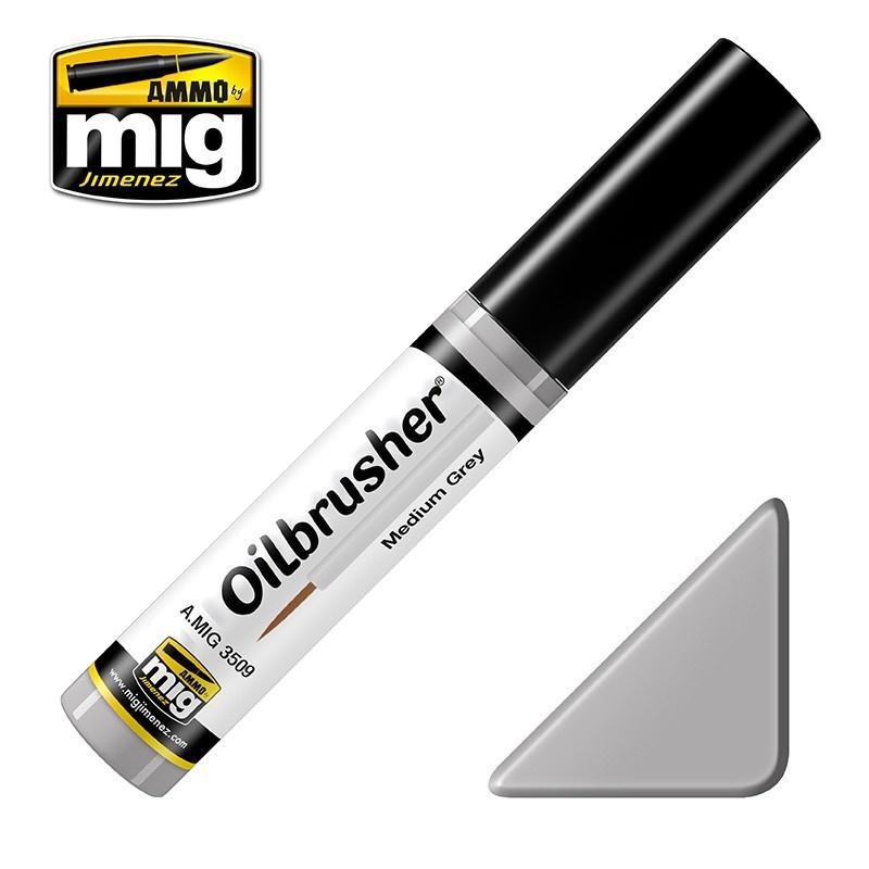 Ammo by Mig Jimenez Oilbrusher - Medium Grey - A.MIG-3509