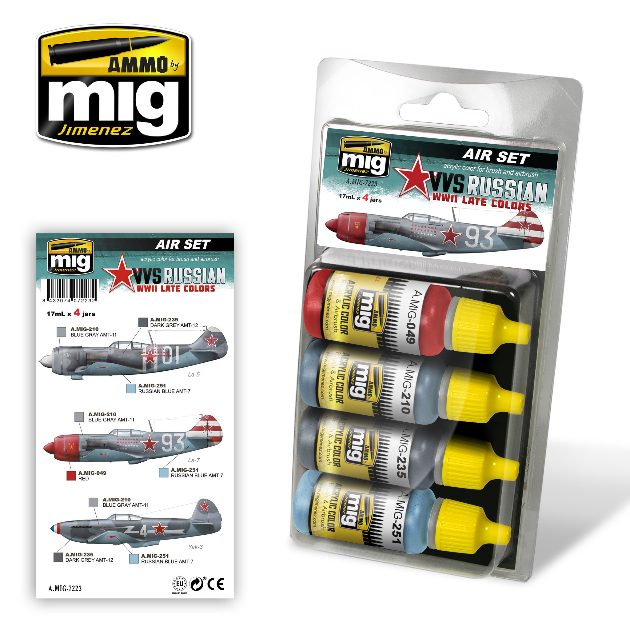 Ammo by Mig Jimenez Aircraft Paint Sets - VVS WWII Russian Late Aircraft - A.MIG-7223