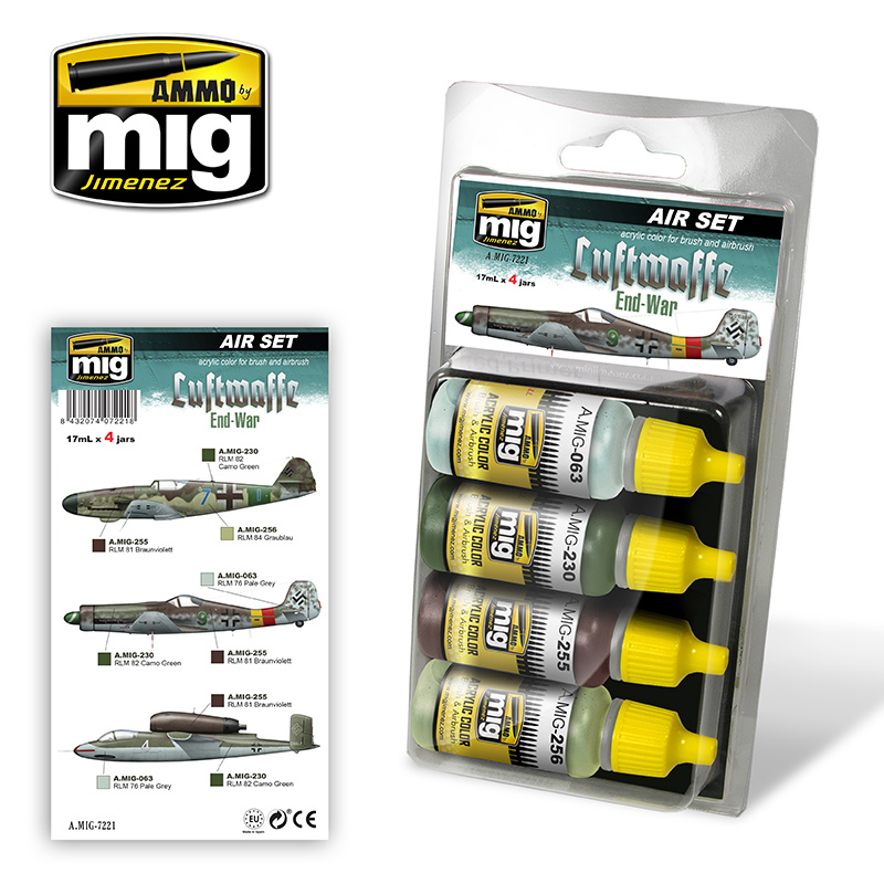 Ammo by Mig Jimenez Aircraft Paint Sets - Luftwaffe WWII End War Colors - A.MIG-7221