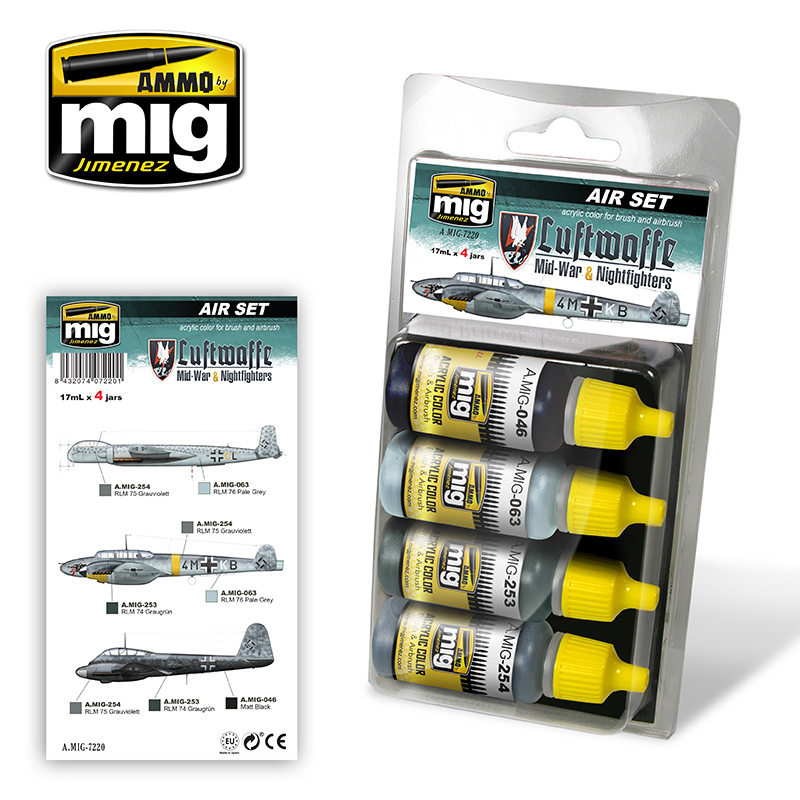 Ammo by Mig Jimenez Aircraft Paint Sets - Luftwaffe WWII Mid War Colors - A.MIG-7220