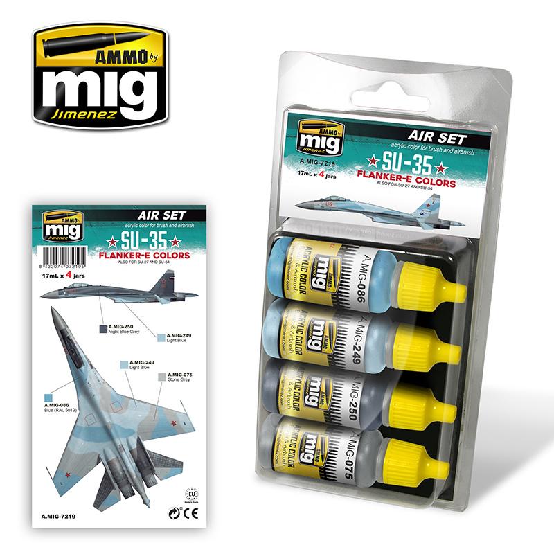 Ammo by Mig Jimenez Aircraft Paint Sets - SU-35 Flanker-E Colors - A.MIG-7219