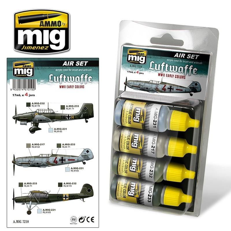 Ammo by Mig Jimenez Aircraft Paint Sets - Luftwaffe WWII Early Colors - A.MIG-7210