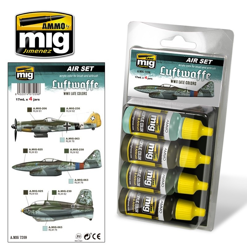 Ammo by Mig Jimenez Aircraft Paint Sets - Luftwaffe WWII Late Colors - A.MIG-7209
