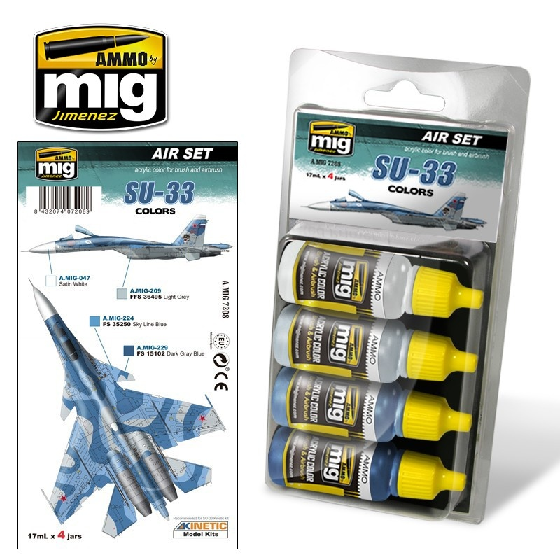 Ammo by Mig Jimenez Aircraft Paint Sets - SU-33 Colors - A.MIG-7208