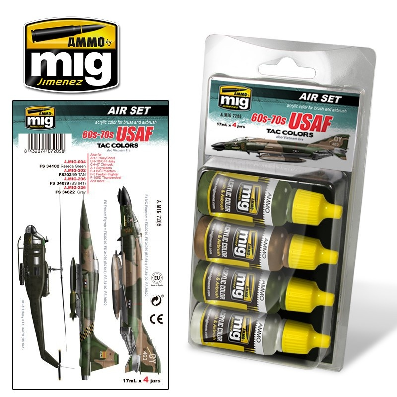 Ammo by Mig Jimenez Aircraft Paint Sets - 60S-70S Usaf Tac Colors (Also Vietnam Era) - A.MIG-7205