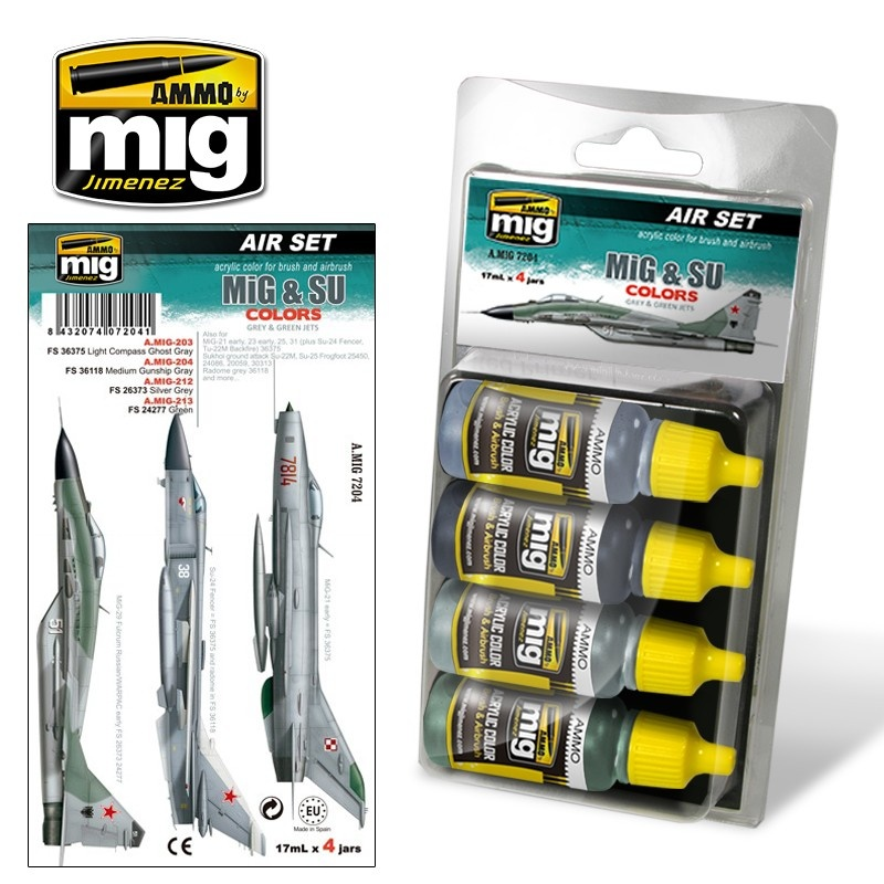 Ammo by Mig Jimenez Aircraft Paint Sets - MiG & SU Fighters Greys - A.MIG-7204