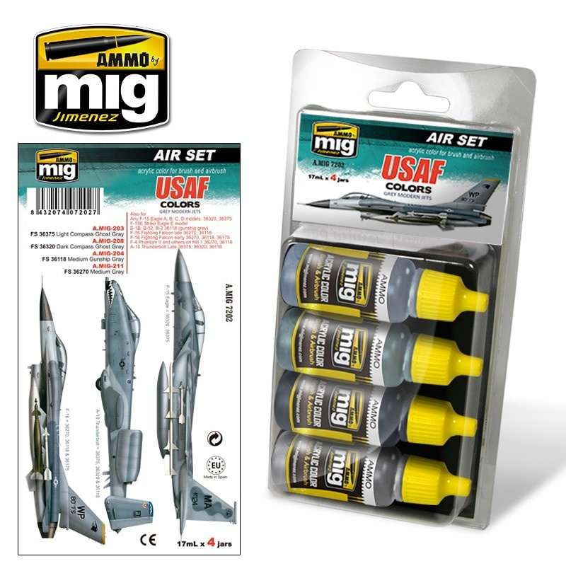 Ammo by Mig Jimenez Aircraft Paint Sets - USAF Set 1: Grey Modern Jets - A.MIG-7202