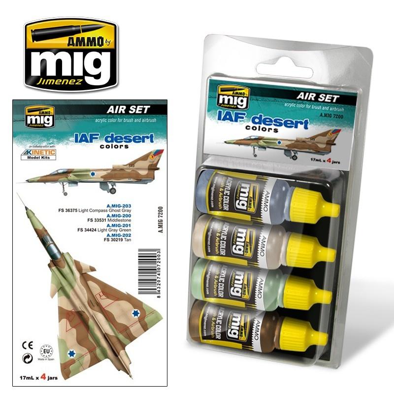 Ammo by Mig Jimenez Aircraft Paint Sets - IAF Desert Colors - A.MIG-7200