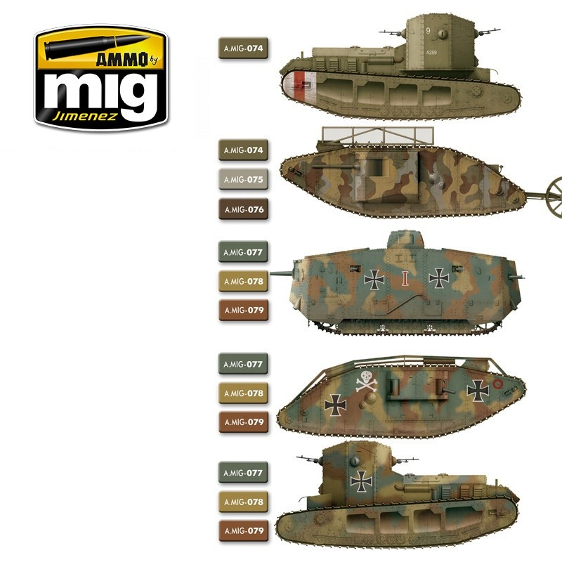 Ammo by Mig Jimenez WWI &  WWII French Camouflage Colors - A.MIG-7110
