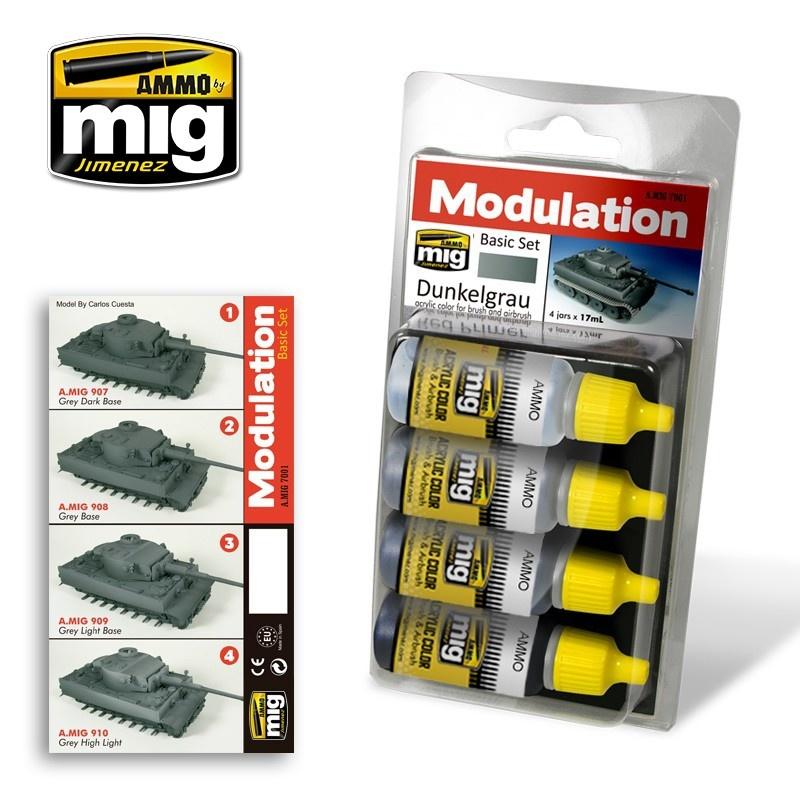 Ammo by Mig Jimenez Modulation Paint Sets - DUNKELGRAU MODULATION SET - A.MIG-7001