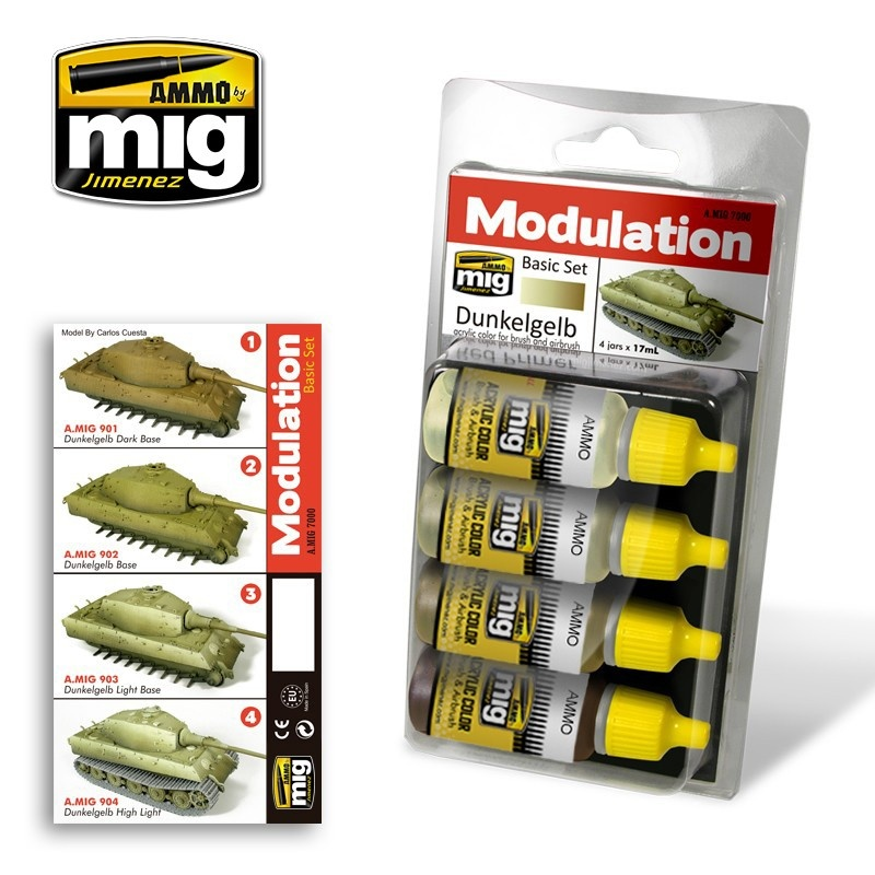 Ammo by Mig Jimenez Modulation Paint Sets - DUNKELGELB MODULATION SET - A.MIG-7000