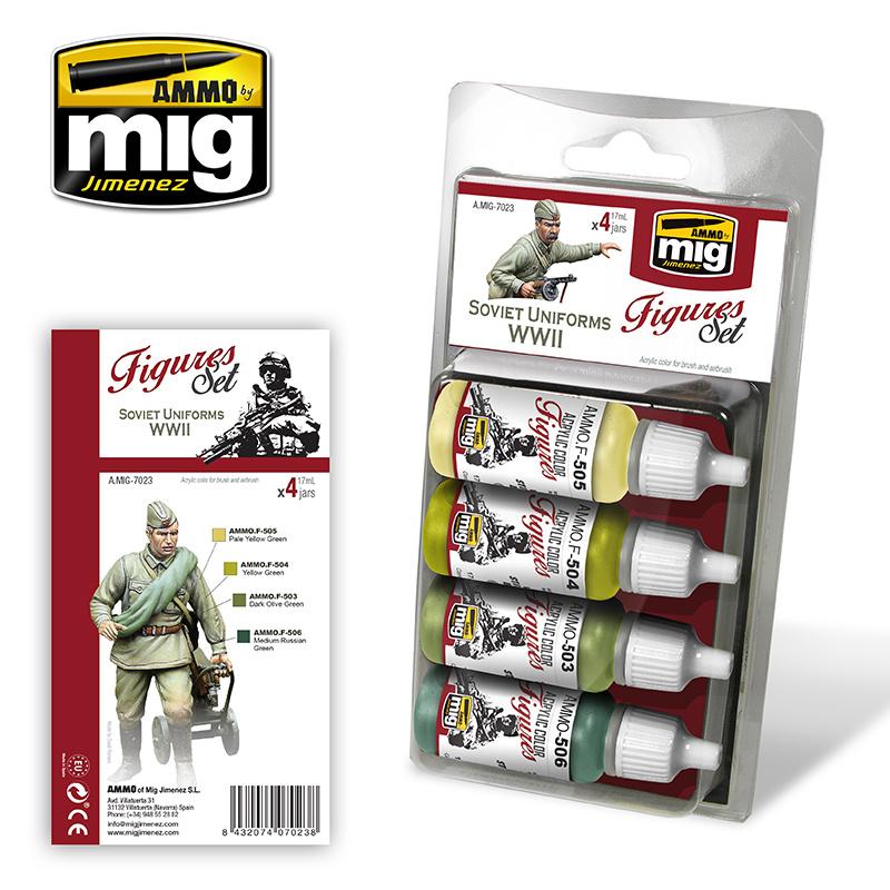 Ammo by Mig Jimenez Figure Paint Sets - SOVIET UNIFORMS WWII - A.MIG-7023