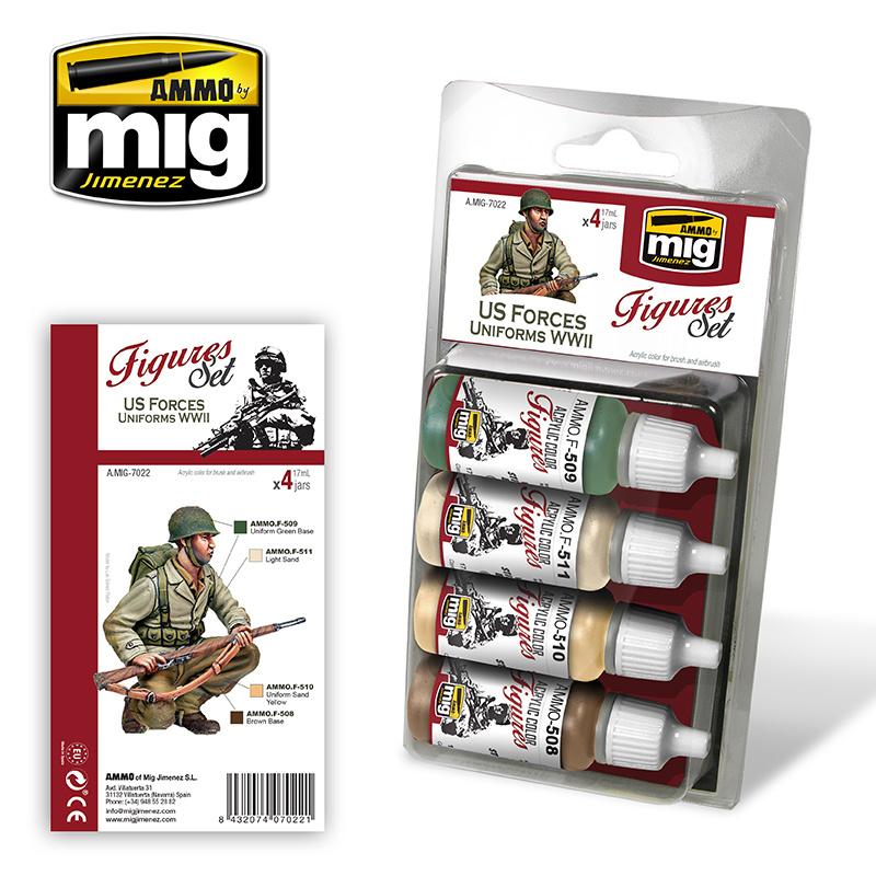 Ammo by Mig Jimenez Figure Paint Sets - US FORCES UNIFORMS WWII - A.MIG-7022