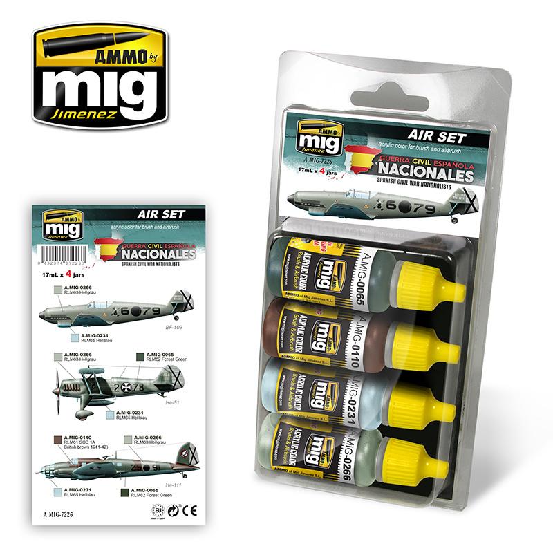 Ammo by Mig Jimenez Aircraft Paint Sets - SPANISH CIVIL WAR - NATIONALISTS AIRCRAFTS - A.MIG-7226
